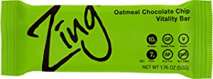 Zing Plant-Based Protein Bar | Oatmeal Chocolate Chip, 12 Count | Warm Cinnamon and Crisp Apple | 10g Protein and 7g Fiber | Vegan, Gluten-Free, Non-GMO | Created by Professional Nutritionists