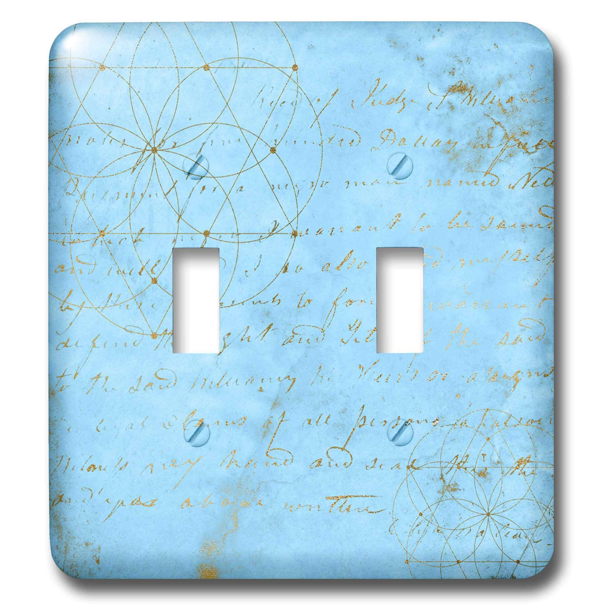 3dRose Uta Naumann Faux Glitter Pattern - Image of Sky Blue and Gold Metal Foil Vintage Luxury Text Pattern - Light Switch Covers - double toggle switch (lsp_290168_2)
