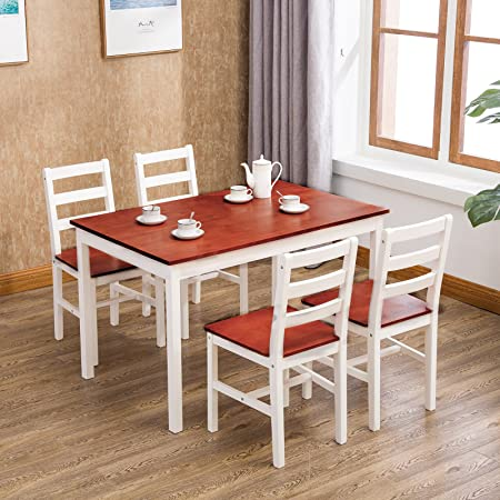 UEnjoy CLASSICAL SOLID PINE DINING TABLE AND CHAIRS SET 4 WHITE/HONEY  KITCHEN DINING ROOM