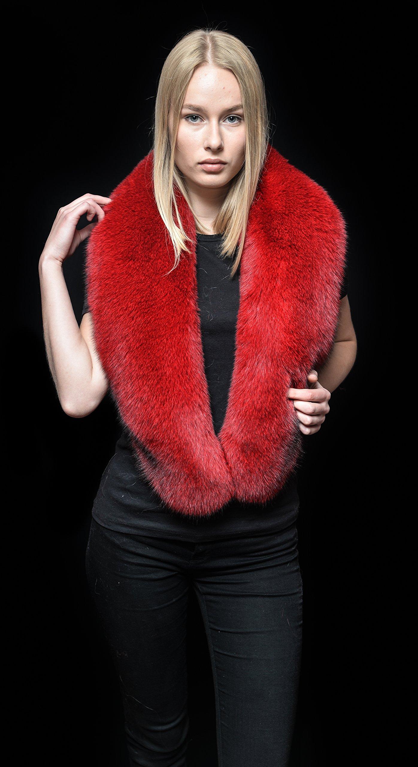 Genuine Volcano Red Blue Fox Fur Handcrafted Stole Collar Shawl Collar Boa