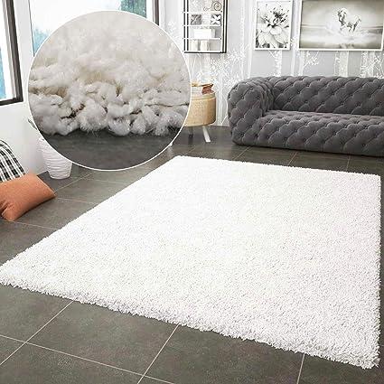 VIMODA Prime Shaggy Weiss Hochflor Langflor Modern für Wohnzimmer  Schlafzimmer, Maße:70x140 cm Teppich, Polypropylen, Creme,