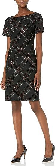 Kasper Damska Short Sleeve Jewel Neck Pencil Stripe Sheath Dress Kleid: Odzież