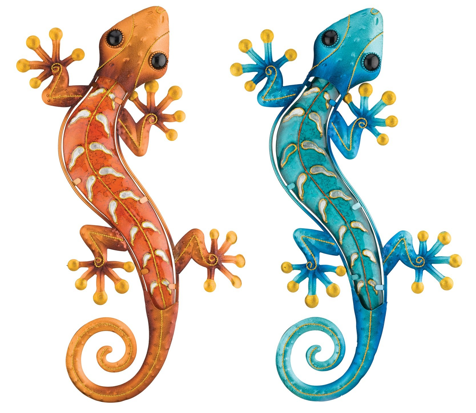 Regal Art & Gift Gecko Decor, 18-Inch Copper and Blue Geckos for Home, Garden, and Wall Decoration