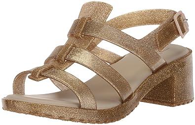 53daf58e60 Mini Melissa Girls' Mel Flox HIGH Heeled Sandal Gold Glitter 1 M US Little  Kid