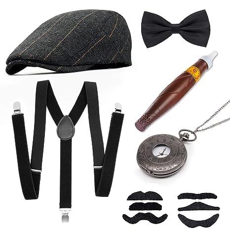 MMTX 1920s Uomo Fancy Dress Set di Accessori Flapper Grande Gatsby Costume  Kit con Cappello Panama 3e37386598e