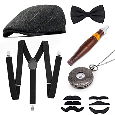 9ae1427b221 MMTX 1920s Mens Fancy Dress Accessories Set Flapper Great Gatsby Costume  Kit With Panama Hat Elastic,Y-Back Suspender,Bow Tie,Vintage Pocket Watch  and ...