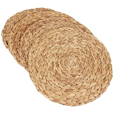 kilofly 4pc Natural Water Hyacinth Weave Placemat Round Braided Rattan Tablemats, 14.5 inch