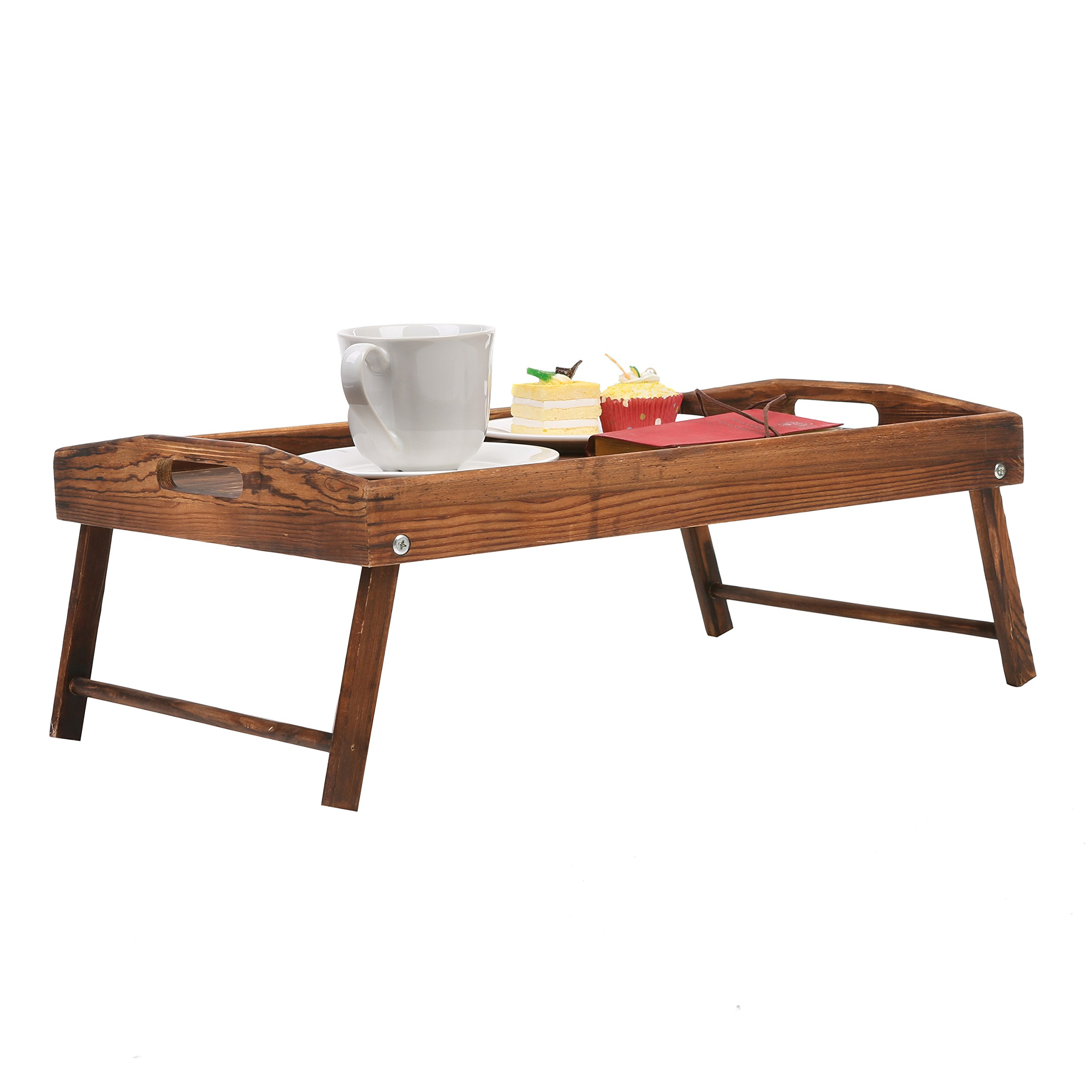 Country Rustic Torched Wood Food Serving Tray, Breakfast in Bed Table with Folding Legs by MyGift (Image #5)
