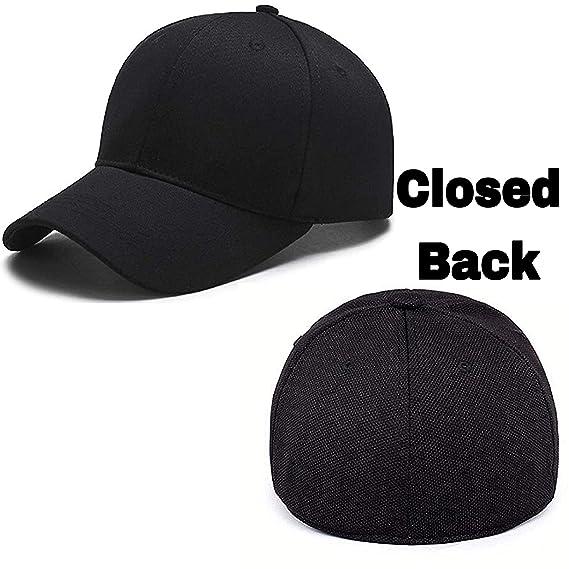 0765c5722efb MoohMaya Flexifit Backside Closed Caps for Men   Women (Black)  Amazon.in   Clothing   Accessories