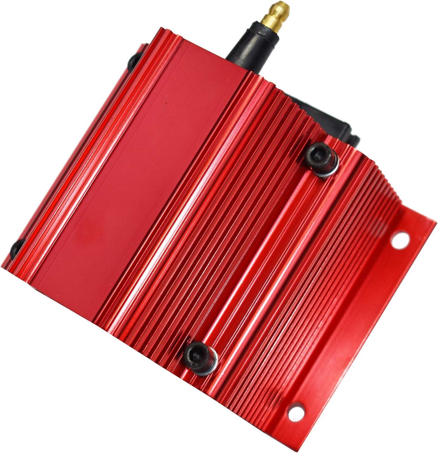 New A-Team Performance E-Core Ignition Coil Remote Billet Aluminum Male E-Coil 50,000 Volts Red