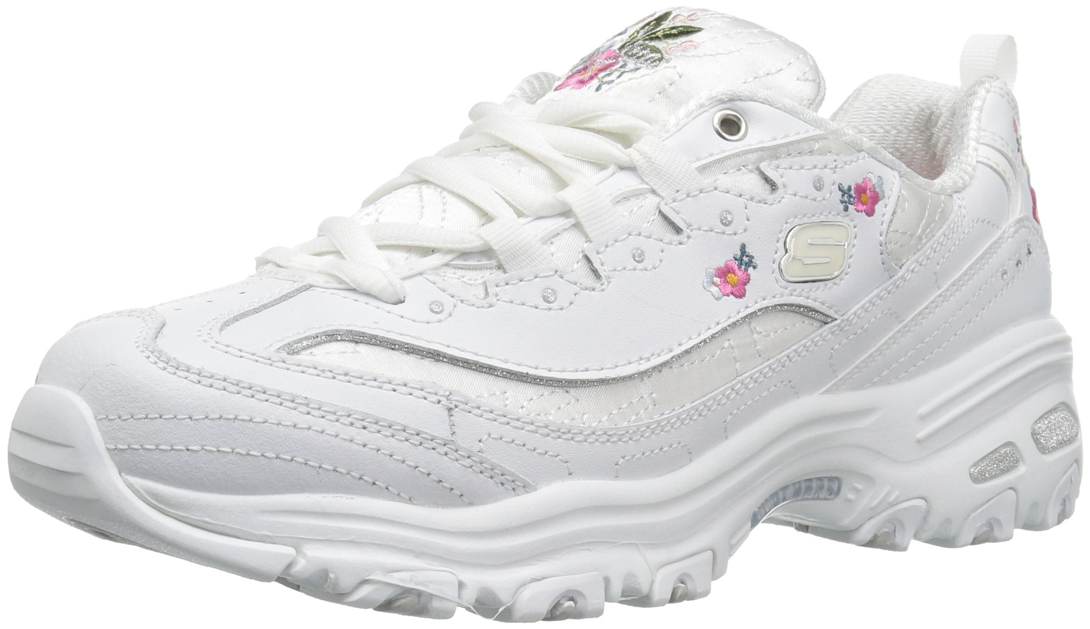 Skechers Women's Bright Blossoms Sneaker,White,7.5 M US
