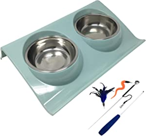 Pet Fit For Life Double Cat Dog Bowl Pet Feeding Station Stainless Steel No Spill Food and Water Bowls for Cats Kittens Small Dogs and Puppies