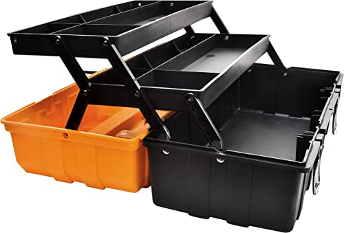 17-Inch Multi-Purpose 3-Layer Toolbox with Tray and Dividers,Household Plastic Tool Organizers,Orange Folding Storage Box