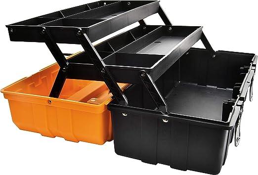 Caja de herramientas multiusos de 43 cm con bandeja y separadores, organizadores de herramientas de plástico para el hogar, caja de almacenamiento plegable naranja: Amazon.es: Bricolaje y herramientas