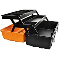 GANCHUN 17-Inch Tool Box,Multi-Purpose 3-Layer Toolboxes with Tray and Dividers,Household Plastic Organizer Box, Orange…