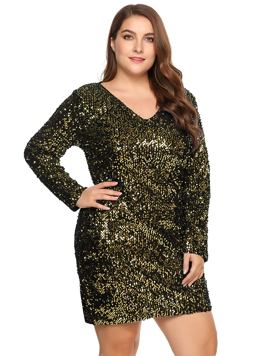 IN\'VOLAND Women\'s Plus Size Glitter V-Neck Long Sleeve Bodycon ...