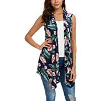 EXCHIC Women's Summer Floral Printed Vest Sleeveless Cardigan