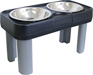 Our Pets Big Dog Feeder Elevated Dog Bowls-16 inch (Great Elevated Dog Bowls for Large Dogs & Raised Dog Bowls for Large Dogs) [Stainless Steel Dog Bowls Hold up to 12 Cups of Dog Food], Black, Double (2020010568)