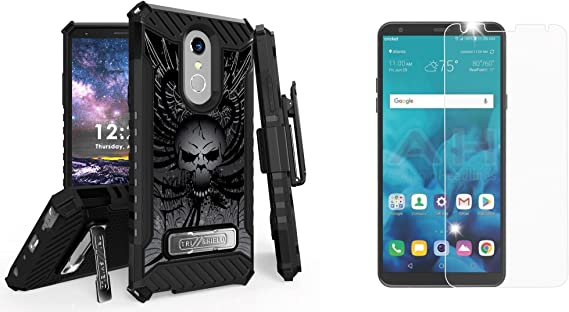 Kickstand Belt Holster Case MIL-STD 810G-516.6 BC Military Grade with Bubble-Free Tempered Glass Screen Protector 2018 Atom Cloth for LG Stylo 4+ Plus//LG Stylo 4 Skull Wings