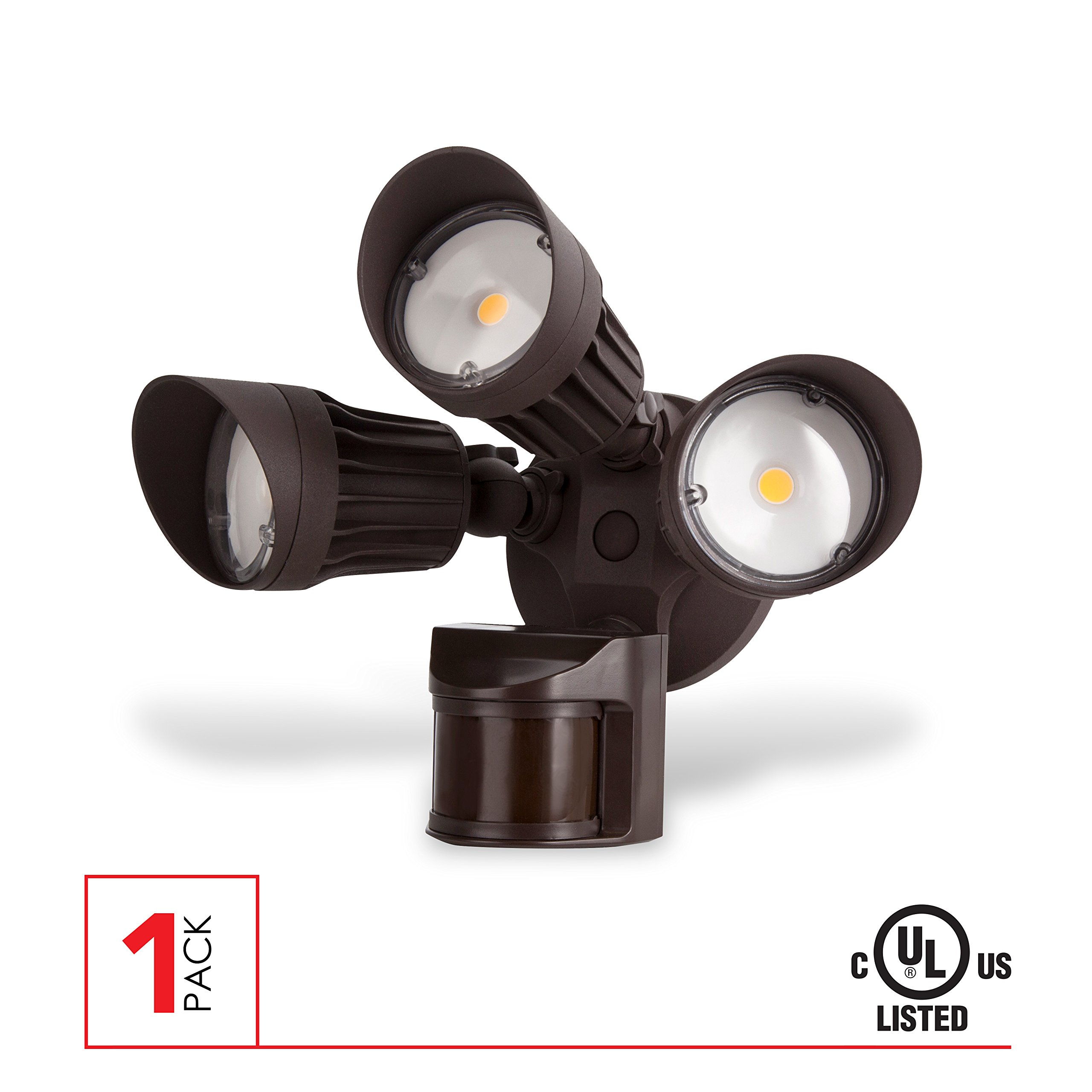 LED Security Light, 30W (125W Equivalent) Moition Sensor Light, 2700 Lumens, 5000K, Waterproof IP65, UL Listed, Bronze by LEDPAX Technology
