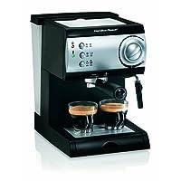 Hamilton Beach 40715 Cafetera Espresso Dos Tazas Color Negro/Plata Cappuccino, Mocha, Latte 15 Bares