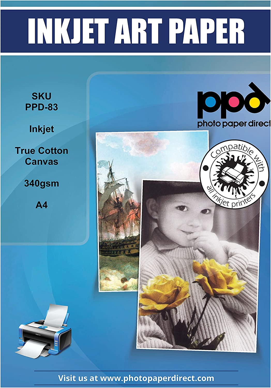 PPD Lienzo de arte imprimible con inyección de tinta de algodón real A4 x 50 Hojas PPD-83-50