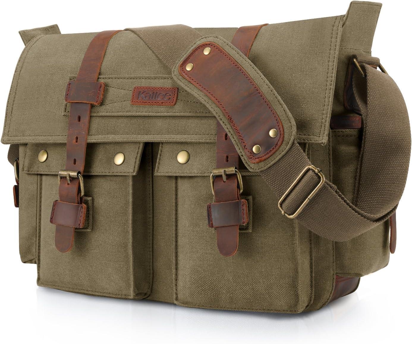 Kattee Military Messenger Bag Canvas Leather Shoulder Bag Fits 16 Inch Laptop