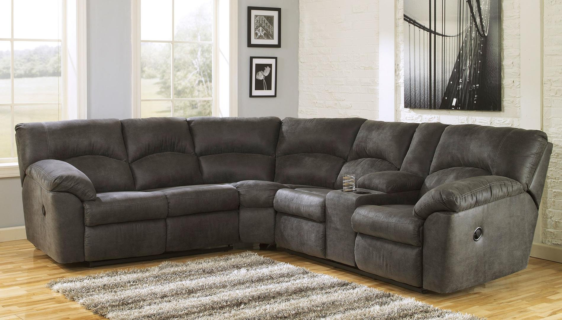 Signature Design by Ashley Tambo Reclining Sectional in Pewter by Ashley Furniture