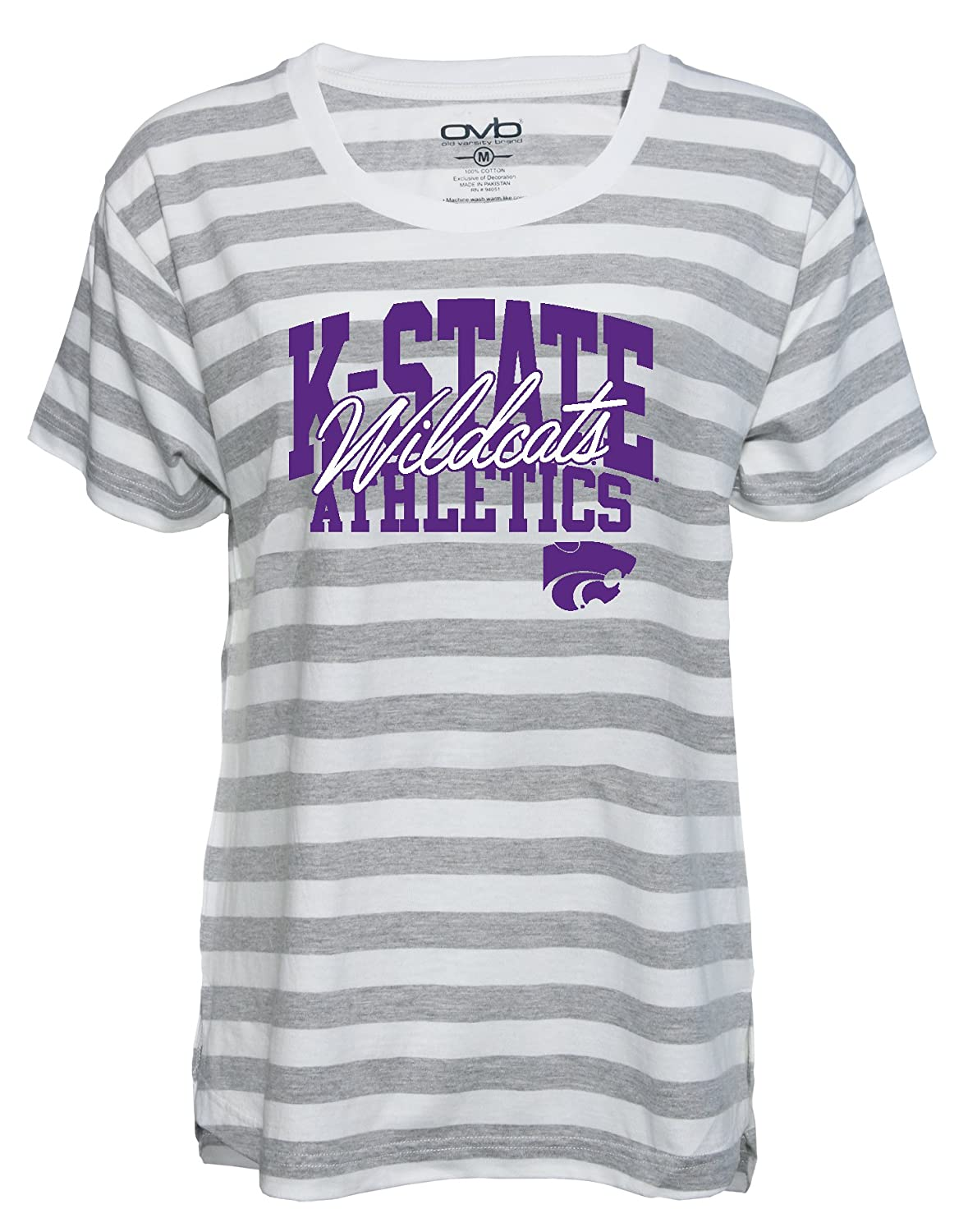 Old Varsity Brand NCAA Kansas State Wildcats Womens Striped Game Day T-Shirt Grey//White X-Large