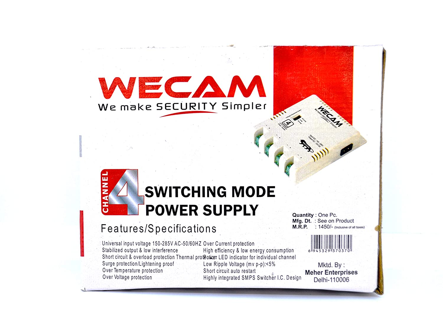 Buy Wecam 4 Camera Smps 12 Volt 5 Amps 1 Yr Protectors Circuit On Power Supply Replacement Guaranty Online At Low Prices In India Reviews Ratings