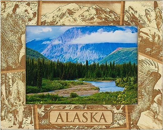 Juneau Alaska Laser Engraved Wood Picture Frame 5 x 7