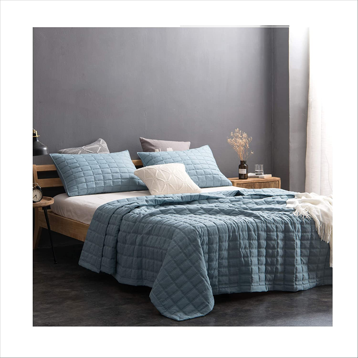King KASENTEX Quilt Mini Set-Stone Washed-Super Soft Bedspread-Light Weight-Hypoallergenic-White Down Alternative Microfiber Fill-Machine Washable Solid Grey 2 King Shams 2 King