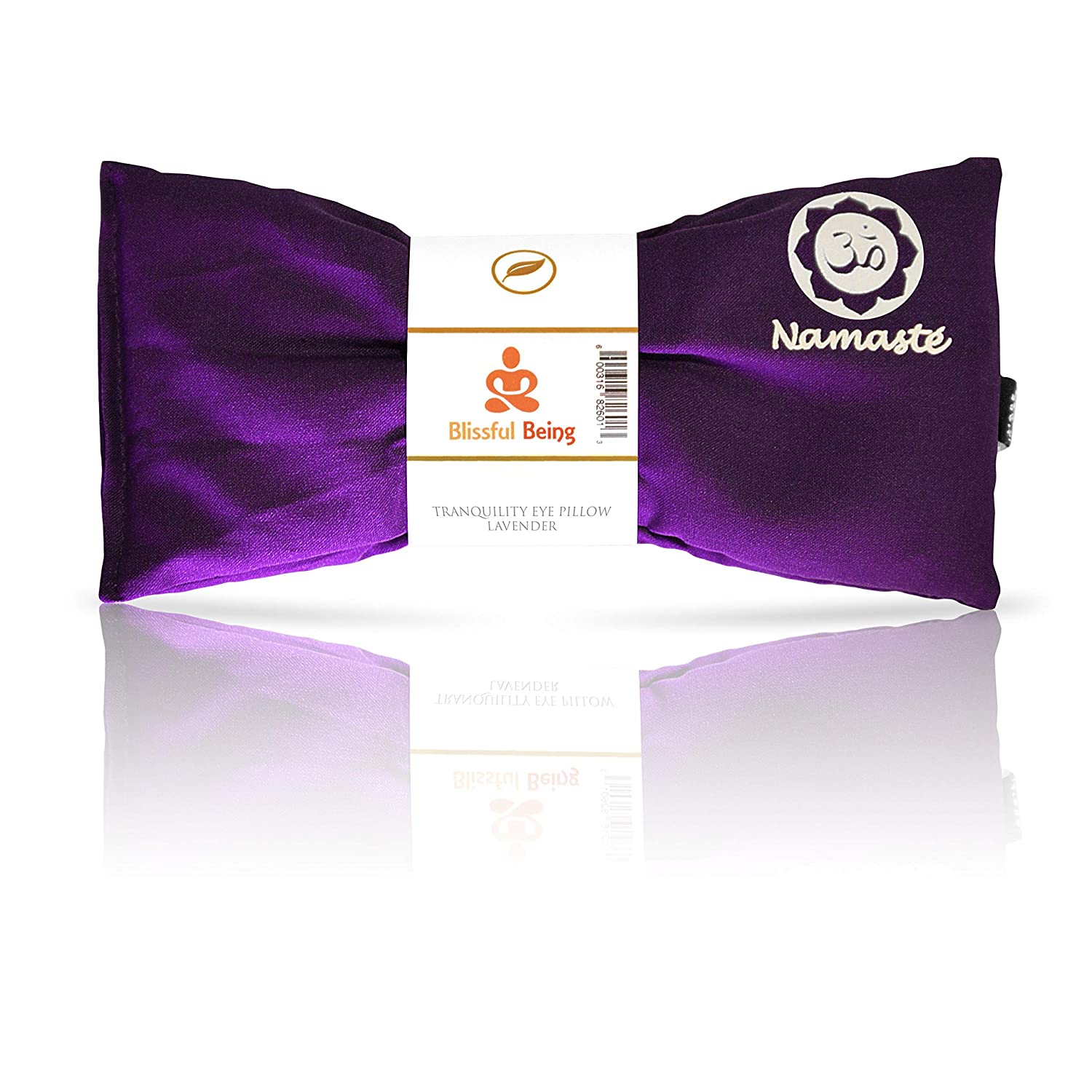 Blissful Being Namaste Yoga Eye Pillow with Lavender - Lavender Eye Pillow perfect for Savasana, Meditation, Relaxation, and Yoga - Soft, Organic Cotton (Purple)