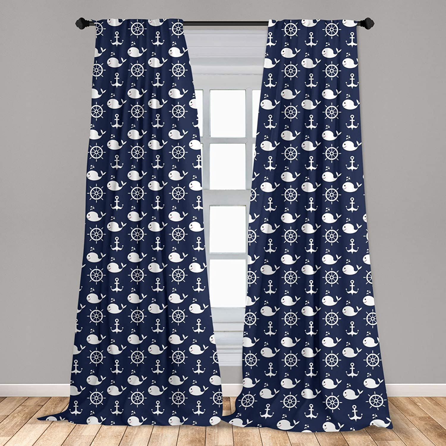 Ambesonne Navy Blue 2 Panel Curtain Set, Maritime Pattern with Whales Helms Anchors Nautical Elements Deep Sea Life, Lightweight Window Treatment Living Room Bedroom Decor, 56