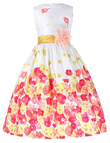 GRACE KARIN Girls Sleeveless Round Neck Floral Vintage Dress With Lining