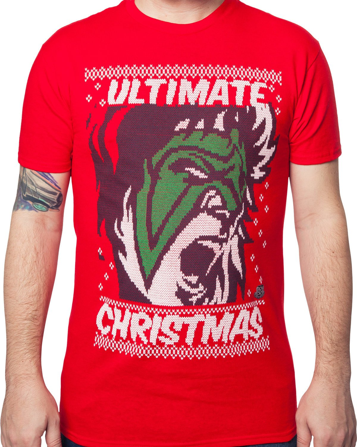 WWE Men's Ultimate Warrior Ugly Christmas Sweater Pattern T-Shirt Red 4XL