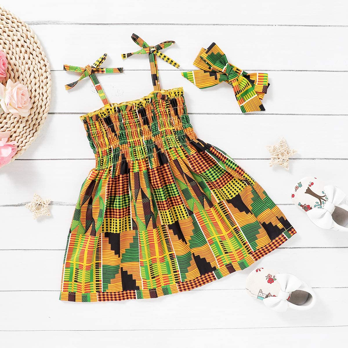 Hair Band GRNSHTS African Dresses for Baby Girls Toddler Kids Print Sleeveless Halter Dress Boho Clothes