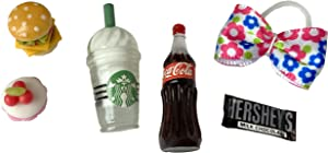 LPS Pet Shop 6 PC Lot Accessories Food Coffee Bow Candy Cupcake