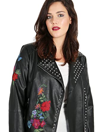 c0ab751bd0a Koko Faux Womens Plus Size Leather Studded Jacket With Floral Embroidery  (22)  Amazon.co.uk  Clothing