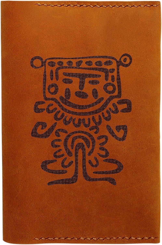 Mexican Symbols Handmade Genuine Leather Passport Holder Case HLT/_01