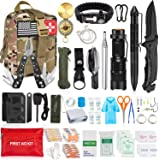 Aokiwo 126Pcs Emergency Survival Kit and First Aid Kit Professional Survival Gear SOS Emergency Tool with Molle Pouch for Cam
