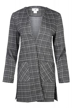 schöner Stil detaillierter Blick Outlet zu verkaufen RICK CARDONA Karo-Mantel Long Blazer Jacke kariert Grau by ...