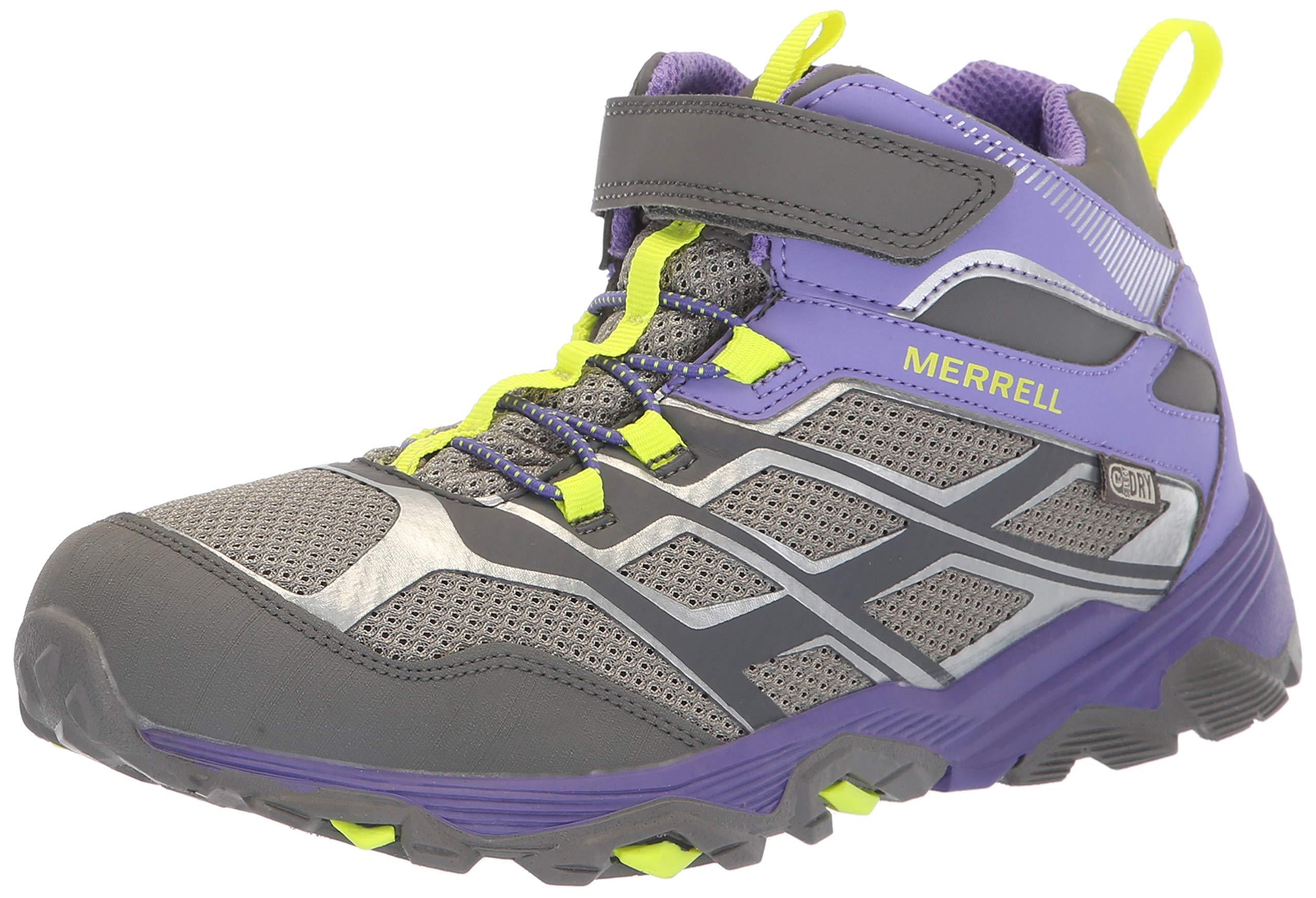 fe124937238 Merrell Girls' Moab FST Mid A/C WTRPF Hiking Shoe, Grey/Purple, 1 Medium US  Little Kid