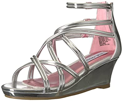 1df718e2b977b Steve Madden Girls  JSATYA Wedge Sandal Silver 1 M US Little Kid