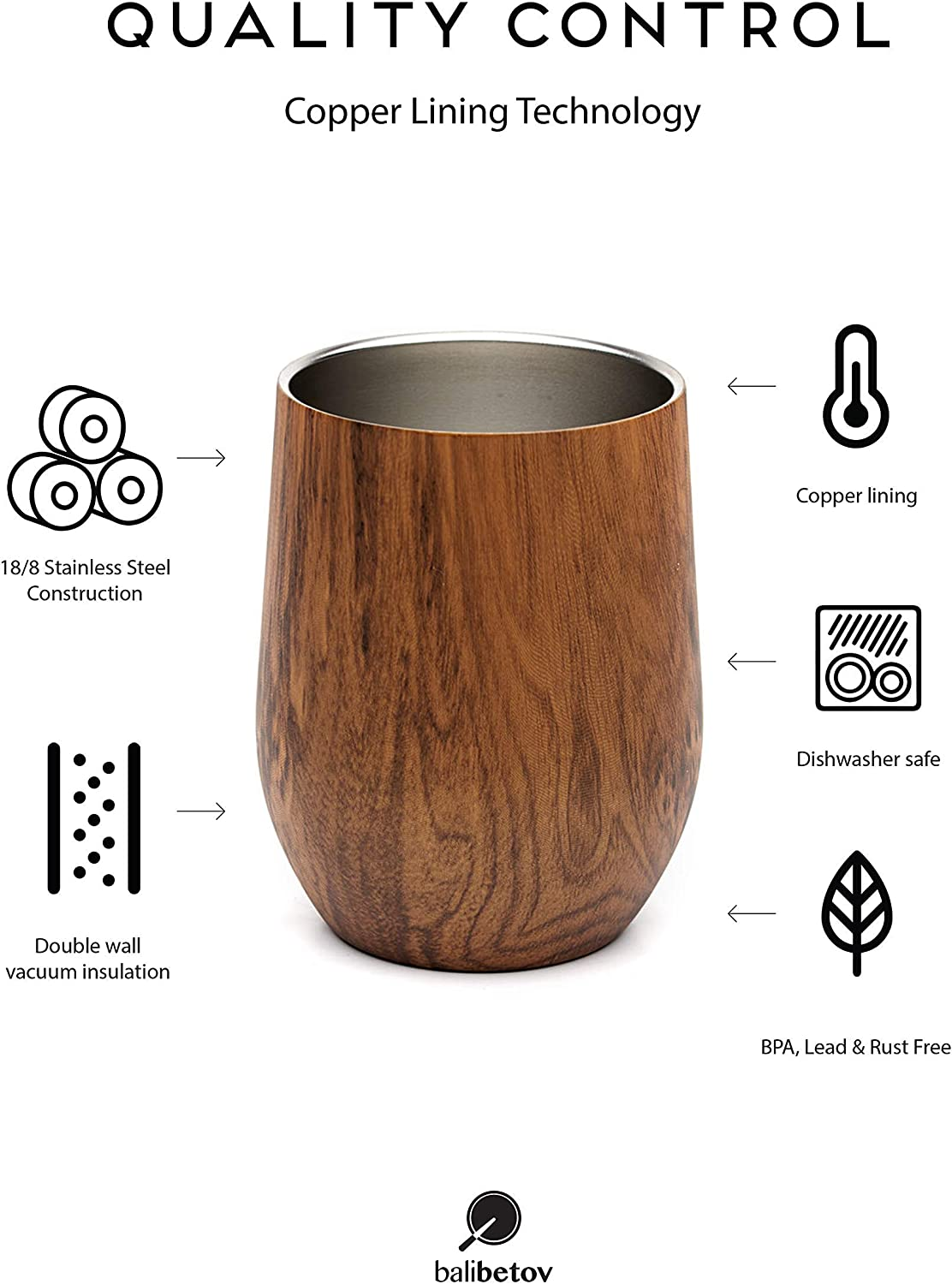 Includes Two Bombillas and a Cleaning Brush Mate Cup Modern Yerba Mate Gourd Set New BALIBETOV - Double Walled 18//8 Stainless Steel Wood, 12