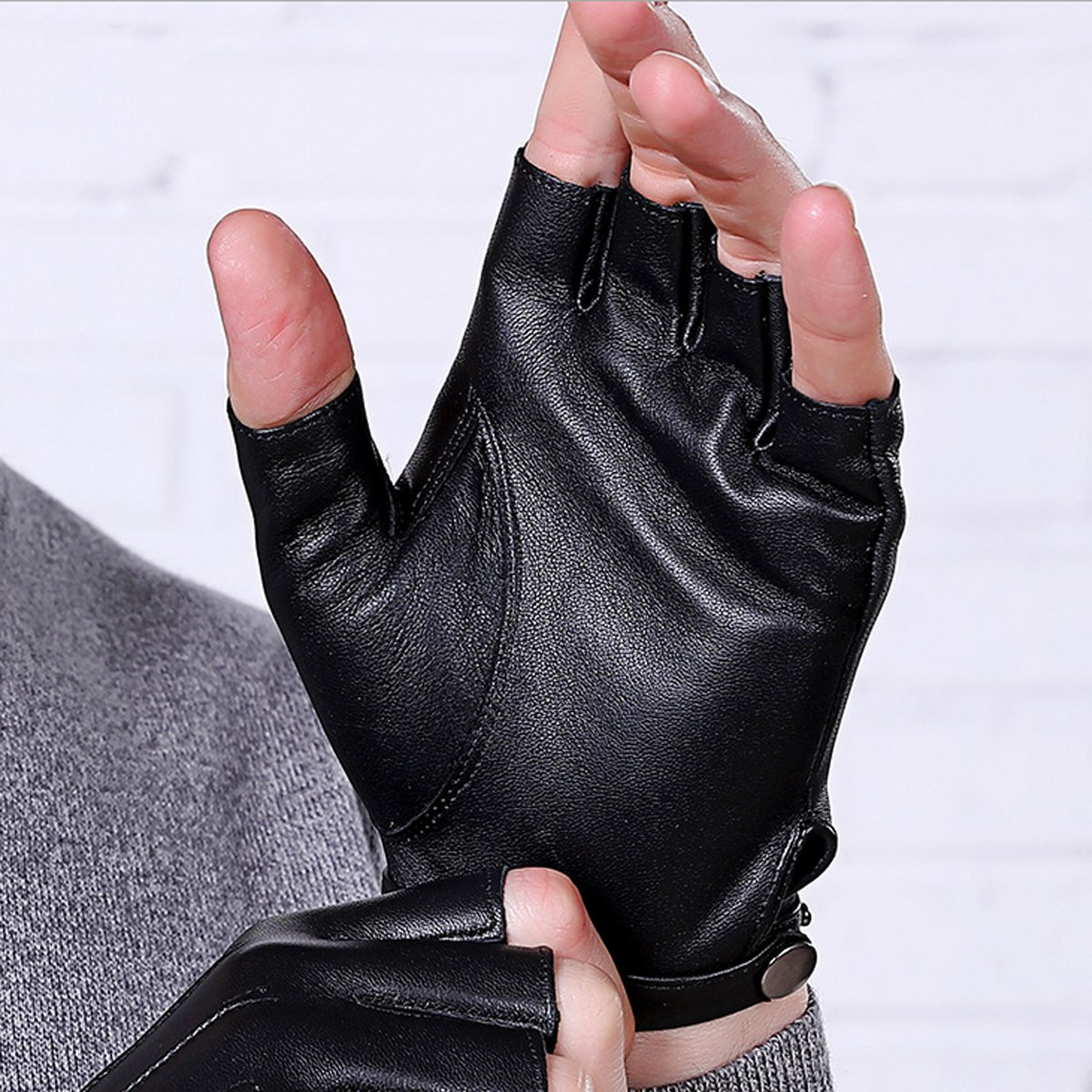 Fingerless Gloves PU Leather Gloves Touchscreen Texting Dress Driving Moto Glove for Men Women Teens (L) by gloveslove (Image #2)