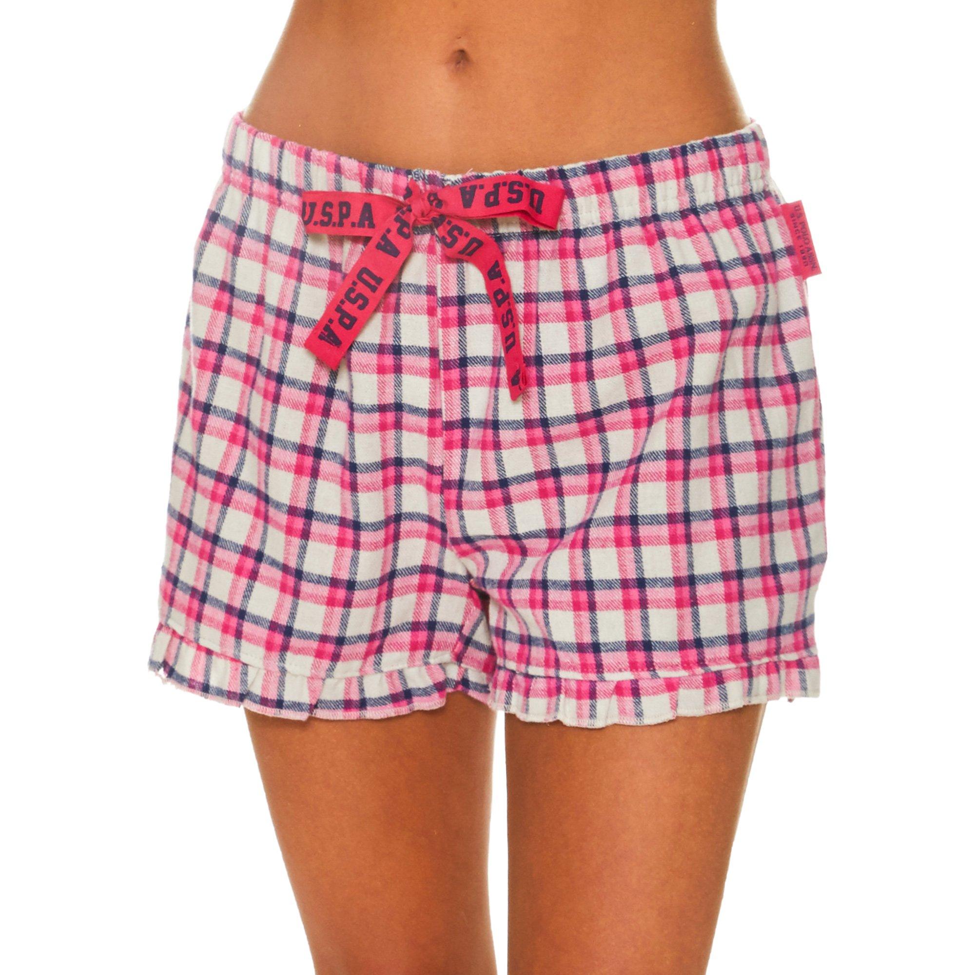 U.S. Polo Assn.. Womens Pajama Shorts with Elastic Waistband and Decorative Bow Light Grey Medium
