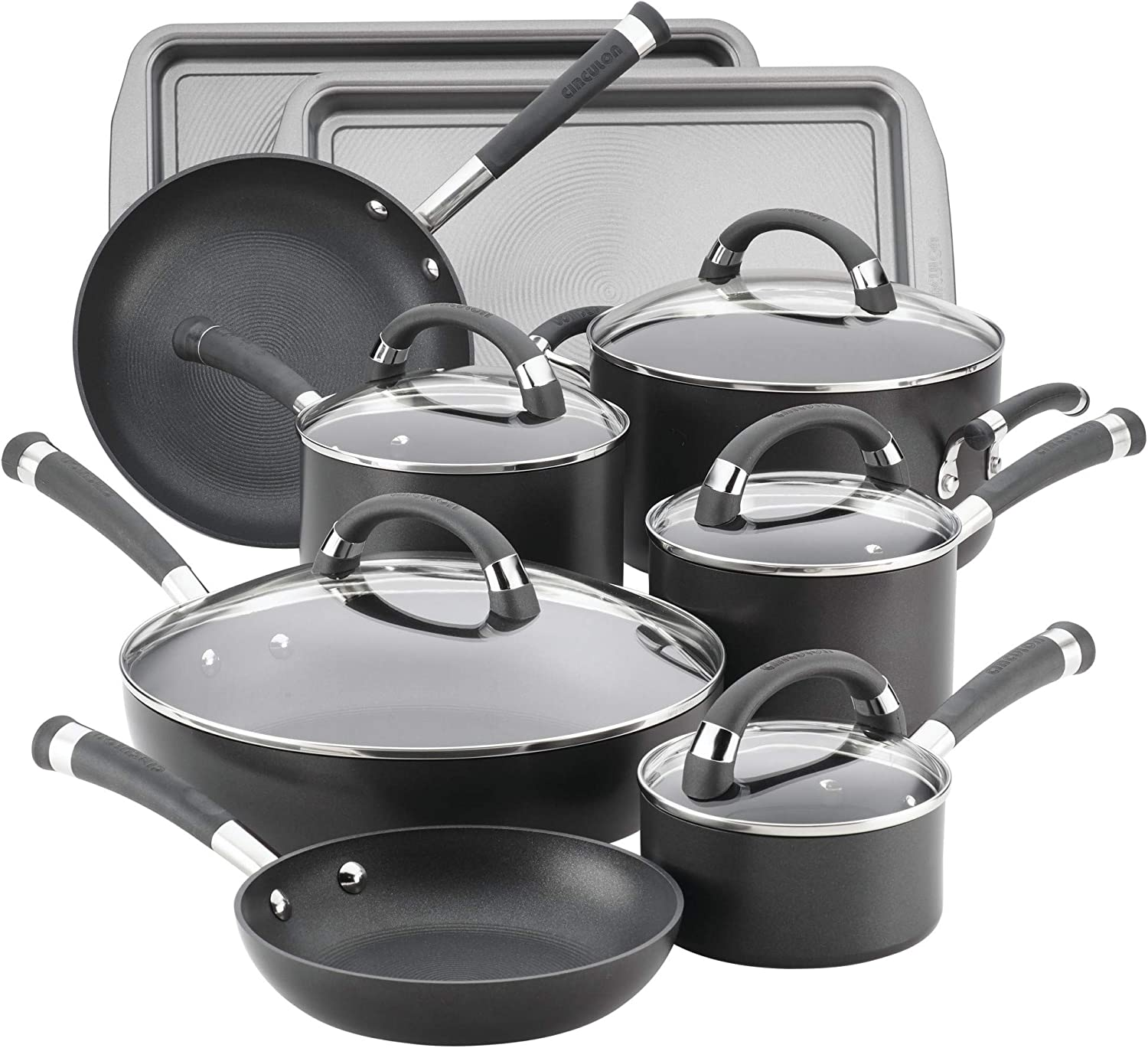 Circulon Espree Hard Anodized Nonstick Cookware Pots and Pans Set, 14 Piece, Gray Pewter