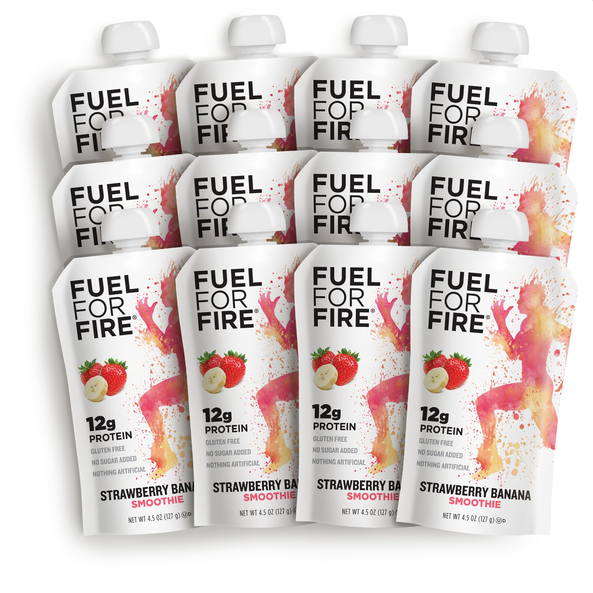 Fuel For Fire - Strawberry Banana (12 Pack) Fruit & Protein Smoothie Squeeze Pouch | Perfect for Workouts, Kids, Snacking - Gluten-Free, Soy-Free, Kosher, No Added Sugar (4.5 ounce pouches) by FUEL FOR FIRE