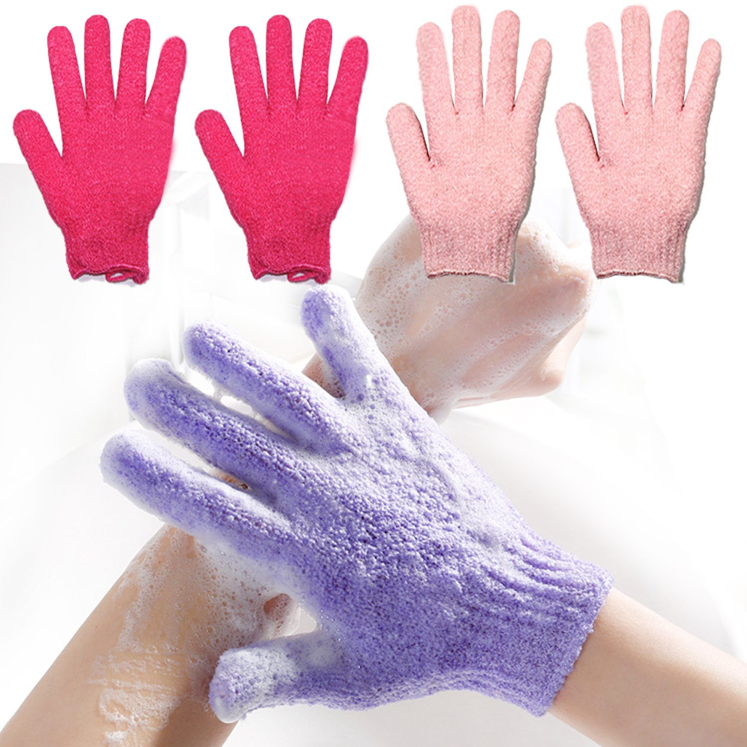 2 Pair Exfoliating Body Gloves Loofah Skin Massage Sponge korean Towel for Cloth Shower Skin Cell Pro Microfiber Body Spa Glove Dry Skin Brush Scrub (red&pink) niki28